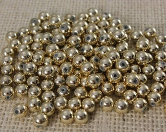 Vintage Gold Round 5mm Beads (100 pieces)