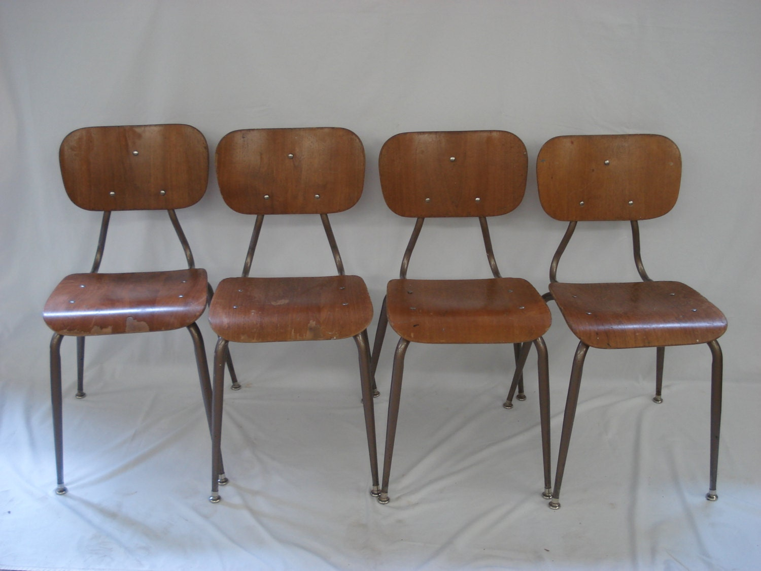 Retro Wood Kitchen School Dining Chairs Mid Century Modern