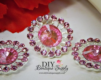 Pink Crystal buttons Rhinestone Buttons Violet Embellishment flatback Baby Headband Supplies Hair Bow flower Flower centers 24mm 927040