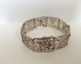 Vintage Sterling Silver Flower Bracelet, Filigree Bracelet Germany