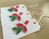 Quilling Paper Flower Gift Tags - Set of 3 - Large Gift Tags Deep Rose Flower with Leaf