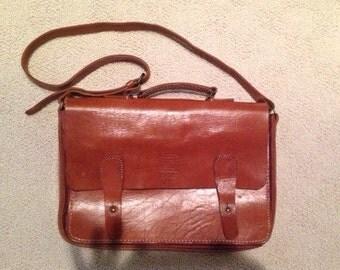 Vintage Brown Leather messenger bag, large sachel, laptop case