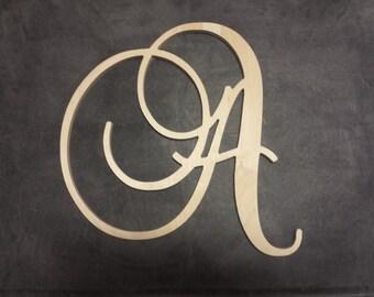 Baroque Script Uppercase wooden letters