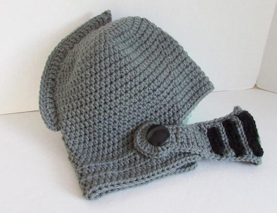 Crochet Helmet Hat, Knight Armor Helmet, Face Mask, Gray and Black ...