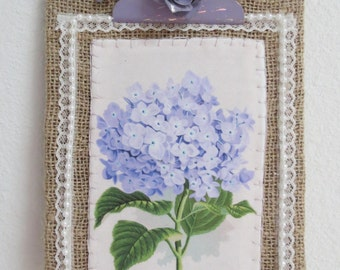 Cottage Style Burlap and Lavender Hydrangea Covered Clipboard