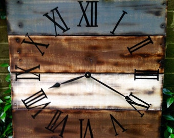 "Large Wood Clock, 24x24"" Rustic, Distressed Reclaimed Wood Clock"