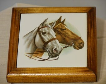 Two Horses Tile Wall Hanging/Trivet/Coaster