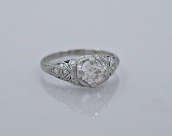 Art Deco .45ct. Diamond Platinum Engagement Ring - J34885