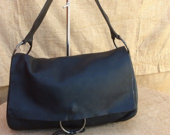 Vintage Authentic MIU MIU  Soft Pebbled Black Leather Shoulder Bag -117