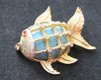 Vintage BSK rhinestone angel fish pin brooch