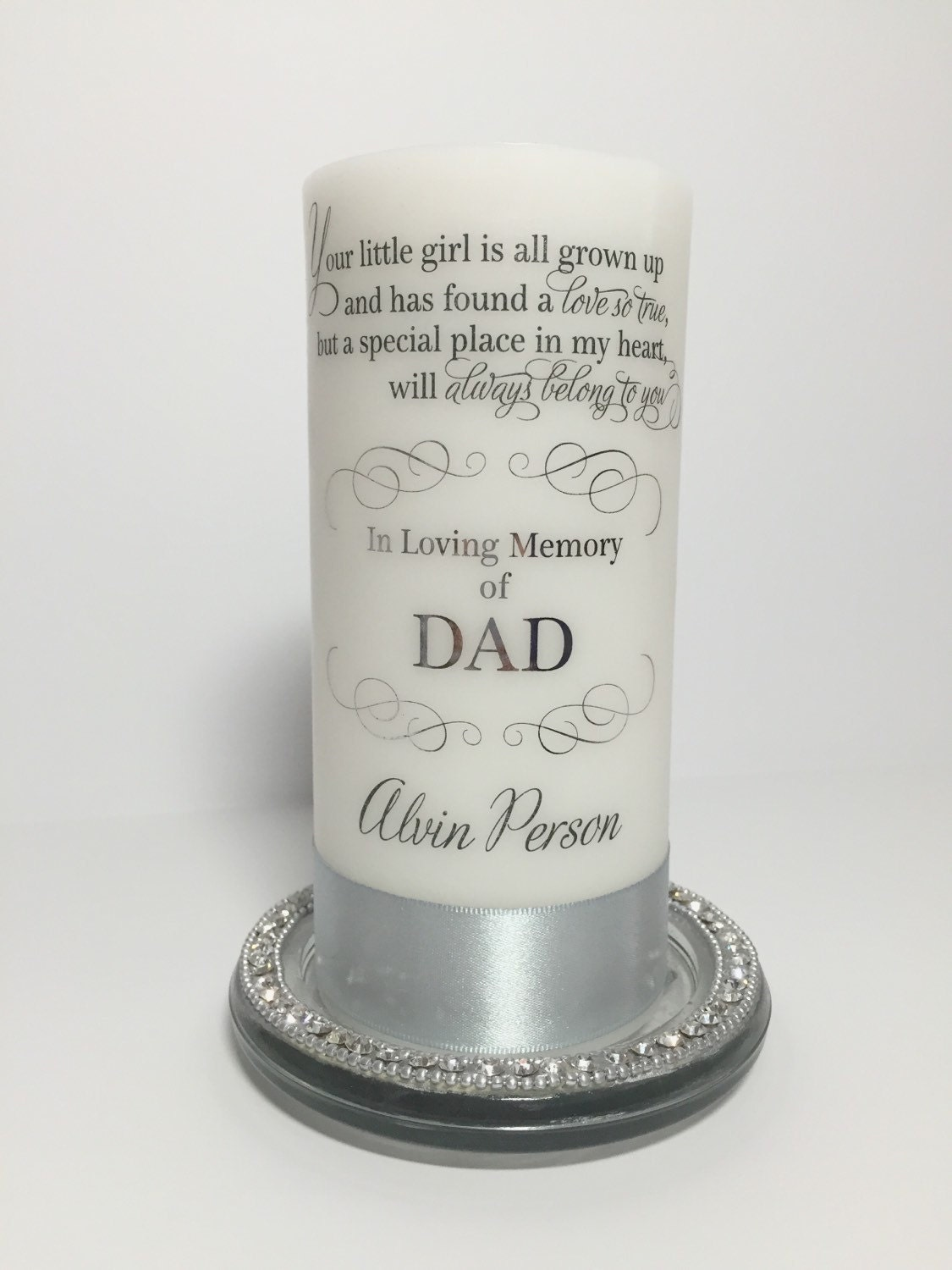 in loving memory of dad candle personalized memorial candle wedding memorial candle custom memory candle memorial service candle