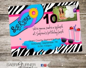 Girly Swim Party Invitation • Zebra Swim Party Invitation • Summer Pool Party Invitation • Customizeable • 5x7 • Teen Pool Party Invitation