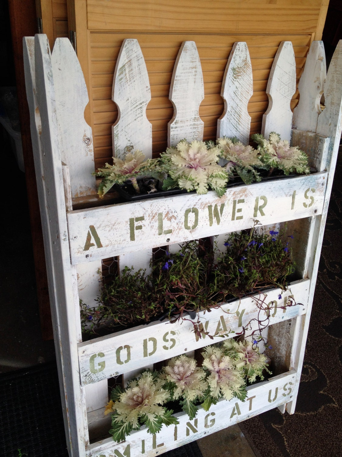 Picket Fence Vertical Planter With Garden Saying Or Quote