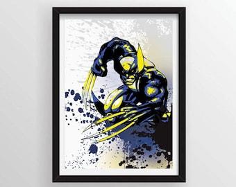 8.5 x 11 Wolverine from X-Men Graffiti Paint Splatter Style Poster