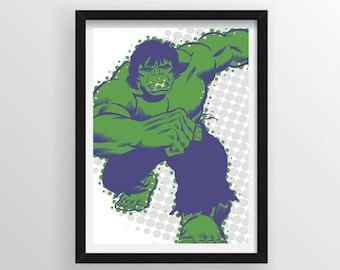 Hulk Poster in Comic Book Halftone Dots - A3 and 13 x 19 Available