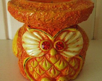 Retro Cool Numbered Ann's Original Figurines, Inc. Orange Owl Candle Holder with Jeweled Eyes