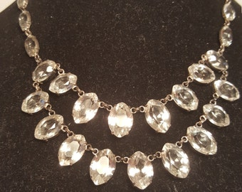FREE  SHIPPING     Edwardian  Rock Crystal Necklace