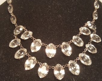 FREE  SHIPPING     Edwardian  Rock Crystal Necklace