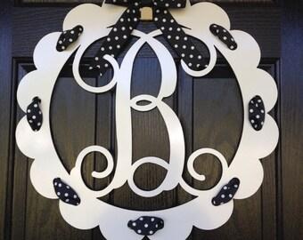 Monogram Door Wreath, Front Door Monogram, Front Door Wreaths, Monogram Wreath, Initial Wreath,
