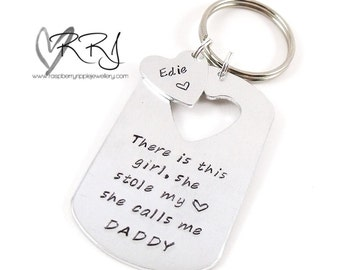There is this girl, she stole my heart, she calls me DADDY Key ring, girl, baby, daughter,dad, father,  love, heart, stamped, birthday