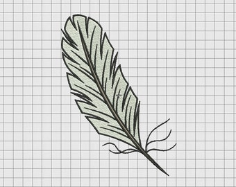 Feather Quill Embroidery Design in 2x2 3x3 4x4 and 5x7 Sizes