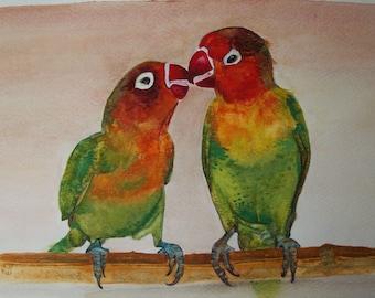 Birds parrots Watercolour on paper, original painting