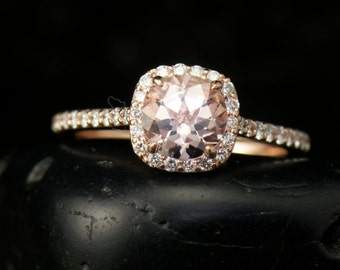 Kylie B - Morganite and Diamond Engagement Ring in Rose Gold, Round Cut in Diamond Halo, Modern Style, Fit Flush Design, Free Shipping