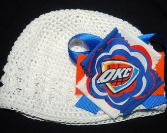 OKC Thunder Fabric Flower Crochet Hat for Newborn