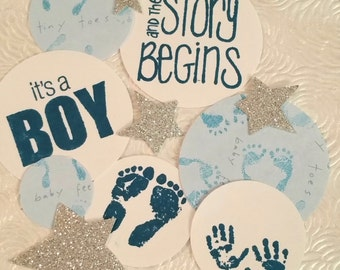 It's A Boy! Baby Shower confetti silver glitter stars party invitations table scatter decoration. 100 count.