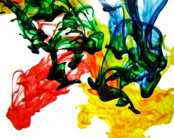 Red, yellow, green, and blue dye fine art photography 8x10 print