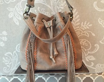 Bucket bag, leather bucket purse, beige leather bag, fringes bucket bag