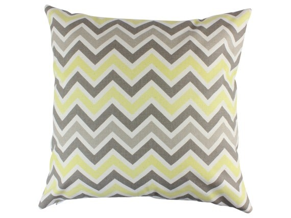 Items similar to Gray and Yellow Chevron Decorative Throw Pillow Covers Nursery Pillow Zippered ...