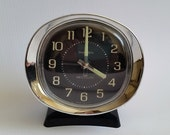 Vintage Westclox Baby Ben Wind-up Alarm Clock (Black and Chrome). Made in the USA. Mid-Century Modern Atomic Design.