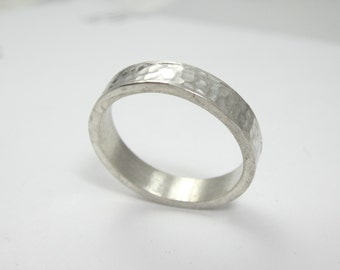 Eco Friendly Recycled Palladium Sterling Silver Wedding Band|Hammered Band|Ethical Modern Boho Chic