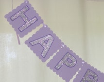 Purple Birthday banner - purple and silver decorations -purple and silver birthday - birthday banner