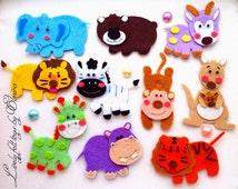 Wild animals, baby clothes appliqué, felt magnets, monkey, appliqués, animals appliqués, animals brooch, appliqués for babies