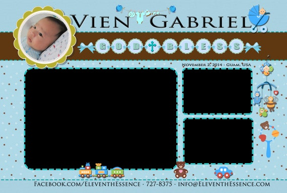 Photo Booth Design Layout Template Baby Blue Christening