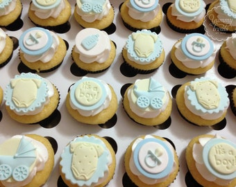 1 Dozen of Baby Shower Cupcake Toppers- Boy or Girl