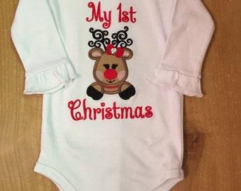 Girly Reindeer My 1st Christmas Baby Bodysuit