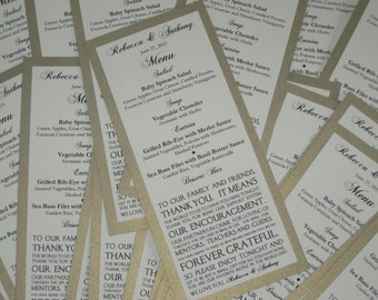 Gold Shimmer Menu with Thank You Note Wedding Bridal Shower Metallic Anniversary Party Customized Color 404
