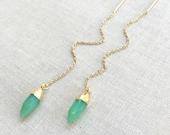 Chrysoprase Threader Earrings ~ 14k Gold Filled Chain Threaders ~ Modern Minimal Green Crystal Earrings