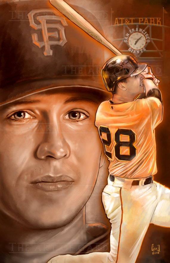 Buster Posey (two pic collage) 11X17 Artist's Print