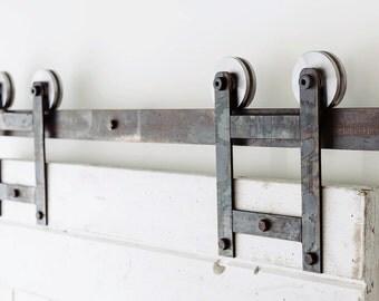 Industrial/Classic Double Wheel Sliding Barn Door Closet Hardware