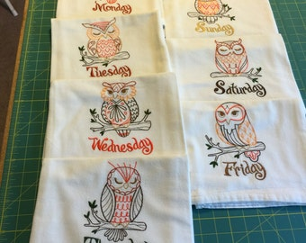 Owl Days of the Week Machine Embroidered Flour Sack Dish Towel Set (7 Towels)