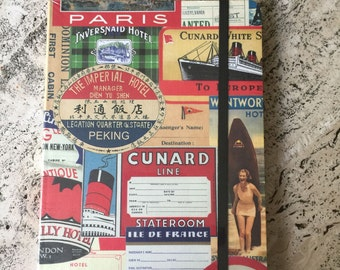 Cavallini - Large Lined Notebook - Vintage Travel Labels - 6x8ins - 144 Pages
