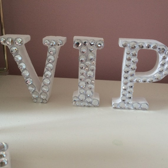 customizable rhinestone wooden letter and number 4 inch wooden letter table decor center piece or cake topper