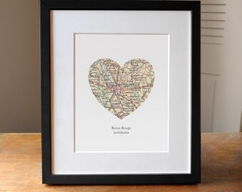 Baton Rouge Louisiana Map Heart Print, LA Print, Heart Map Print, Choose any hometown, Custom Map Art, Louisiana State Art, Baton Rouge