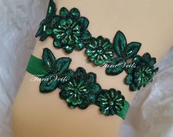 Wedding Garter Green,Bridal Garter Green,Rhinestone Garter,Wedding Green Garters, Bridal Green Garter, Floral lace garter,Green Garter Set