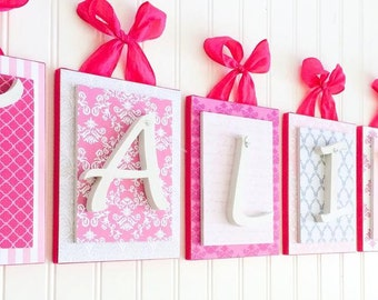 Nursery letters,Hot Pink Nursery Letters,Hot Pink Nursery Decor, Girls Hanging Wall Letters, Baby Shower gift for Girls, Hot pink Letters,
