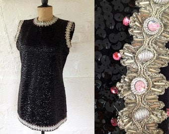 1960s 'Hatai's' Black & Silver Jewelled Evening Top / 60s Tunic Top / Vintage Sequin Top / Size UK 14
